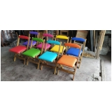 cadeira madeira estofada Morumbi